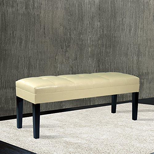 Armen Living LC47211BECR Howard Bench in Cream Bonded Leather and Black Wood Finish