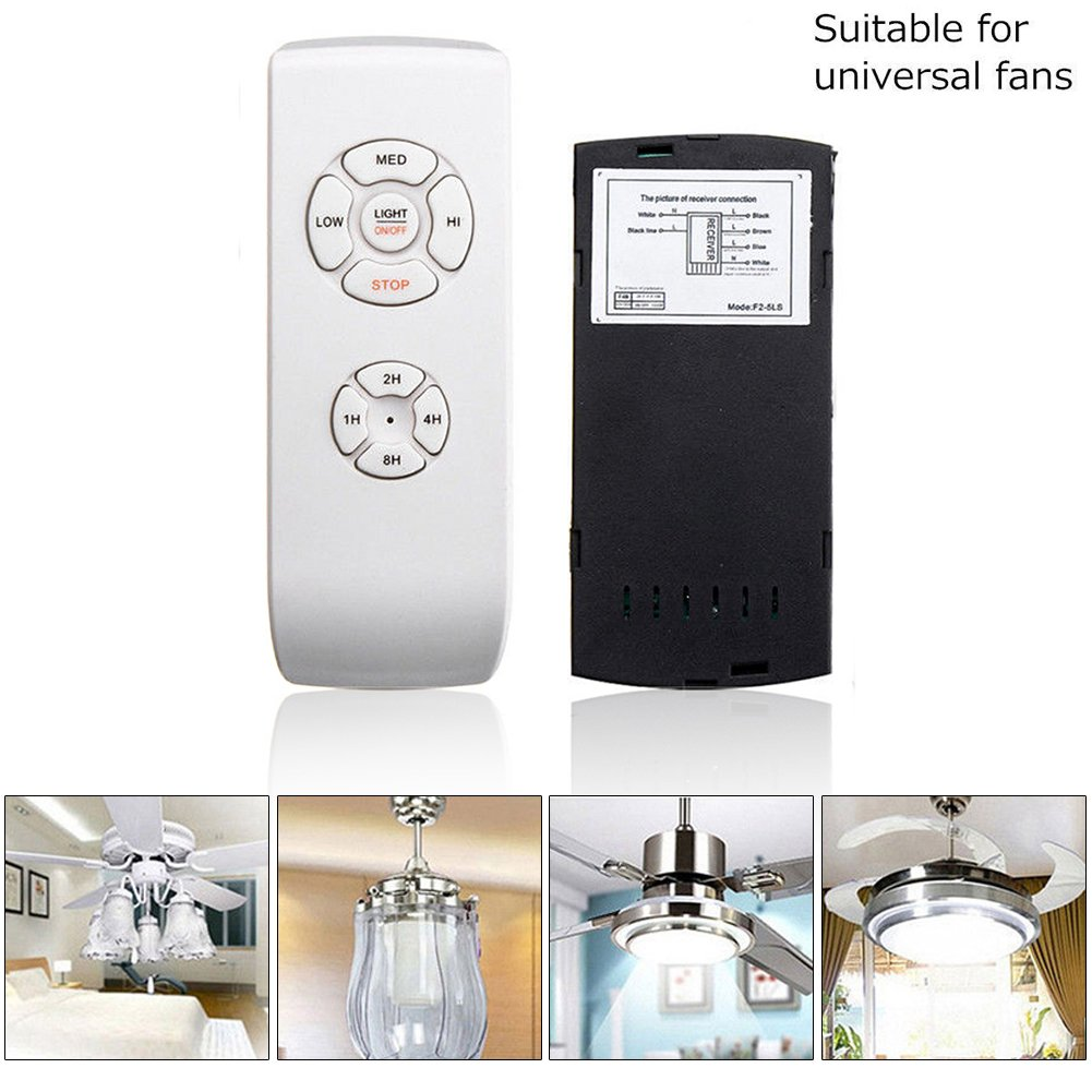 Universal Ceiling Fan Lamp Remote Control Kit Timing Wireless Control 3 Speeds for Home, Office, Hotel, Club, Restaurant, Display Hall ect 110V/220V(White)