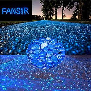 Glow in The Dark Stones, Fish Tank Aquarium Decoration GravelRocks Garden Glowing Pebbles for Outdoor, Walkway, Window…