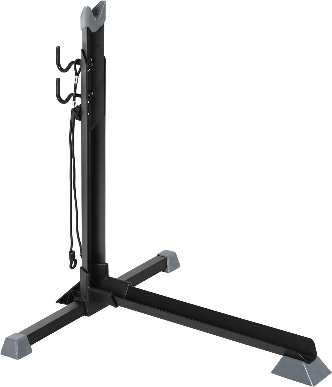 HOMCOM Soporte para Colocar Bicicleta en Vertical Caballete de Bicicleta Ajustable en Altura con Correa de Fijaci/ón F/ácil de Transportar Soporta 30 kg 66x56x63-73,5 cm Negro