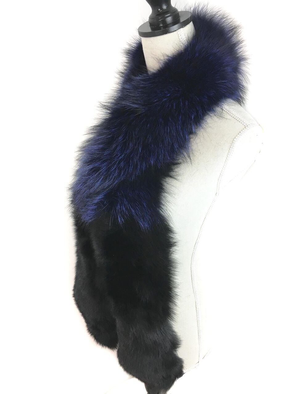 Surell Dyed Fox Fur Scarf - Womens Luxury Neck Wrap - Perfect Winter Fashion Gift (Blue) by surell (Image #3)