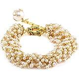 1976 Jewels White Prismatic Shell Pearl Alloy Multi-Strand Bracelet For Women