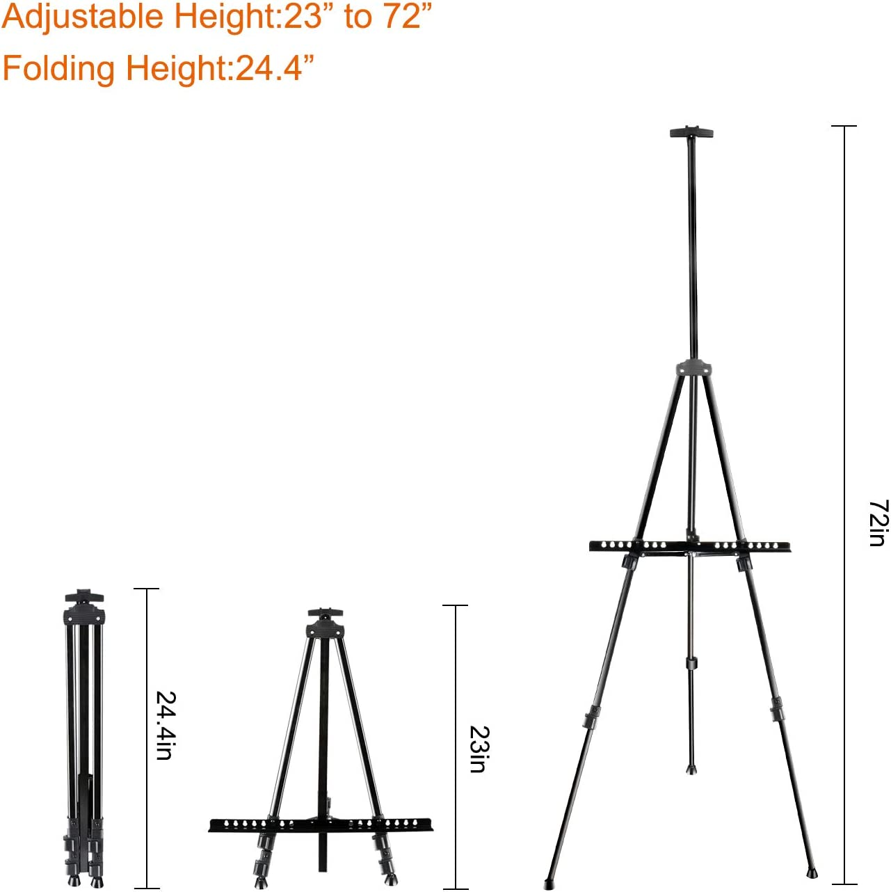 FUDESY 72 Easel Stand,Extra Sturdy Black Aluminum Metal Display Easel Artist Easel Tripod Adjustable Height from 22 to 72 for Table-Top//Floor Painting,Displaying and Drawing with Portable Bag