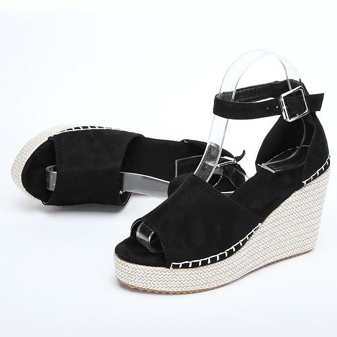 5b361ac6f5c Amazon.com  Sumen Women Wedge Sandals Ankle Strap Open Toe Espadrille Wedge  Sandals Platform Shoes  Clothing