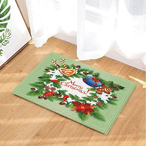 NYMB Christmas Day Festive Decor, Xmas Wreath Pine Tree with Holly Berry Bath Rugs, Non-Slip Doormat Floor Entryways Indoor Front Door Mat, Kids Bath Mat, 15.7x23.6in, Bathroom Accessories