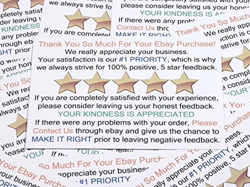 Thank You for Your Purchase and Feedback Request Package Insert Cards for Ebay Business Sellers. Add These Smart Shipping Supplies to Your Personal Ebay Start-Up Kit. (100 ct.) (Business Star Card)