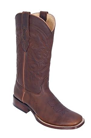 Genuine LEATHER DISTRESSED WALNUT WIDE SQUARE Toe Los Altos Men's Western Cowboy Boot 8229940 (9 D)