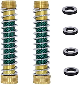 """HQMPC RV Flexible Hose Protector with Spring Garden Hose Extension Adapter 3/4"""" GHT Solid Hose Kink Protector with Coil Spring Garden Hose Coiled Spring Protector 2 Pack with 4 Washer"""