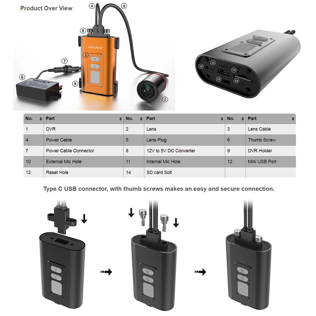 Black case /& 1.8/meter cavo Innovv C5/motorcycle registratore video//camera//DVR//Dash Cam