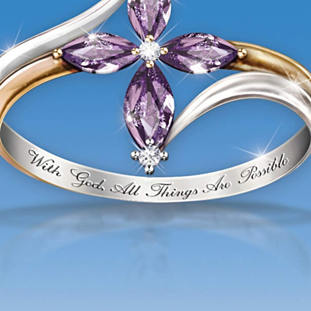 Rubyyouhe8 Ring/&with God All Things are Possible Lady Dual Color Faux Amethyst Cross Floral Ring Ring for Women Fashion Unisex Jewelry Accessories
