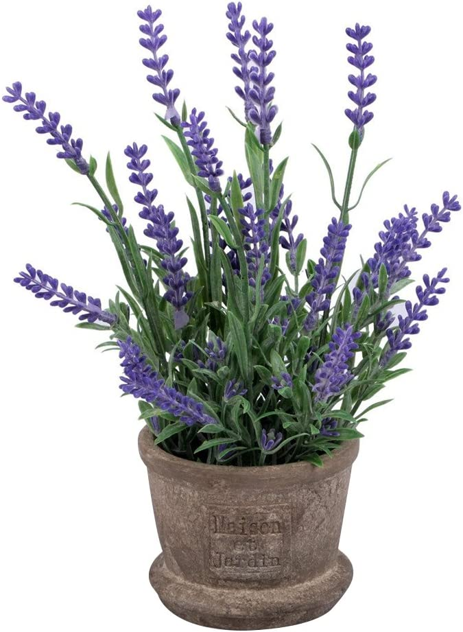 VORCOOL Artificial Flowers Plastic Lavender Arrangements in Pots for Home Garden Decor (Purple)