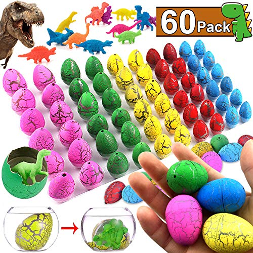 60 PCS Easter Dinosaur Eggs, Easter Basket Stuffers, Magic Dinosaur Eggs Hatch Grow Filled with Mini Dinosaur Toys, Kids Easter Party Favor Game, Dinosaur Party Supplies, Boys Girls Toddlers -