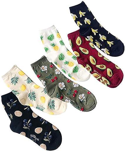 6 pares de las mujeres Calcetines Frutas Diversión Crew calcetines ...