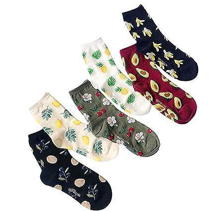 6 pares de las mujeres Calcetines Frutas Diversión Crew calcetines de la novedad con dibujos calcetines