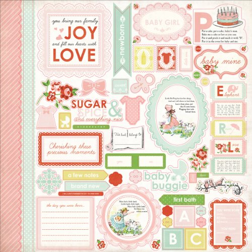Echo Park Paper Baby Mine Girl Cardstock Stickers, 12 by 12-Inch