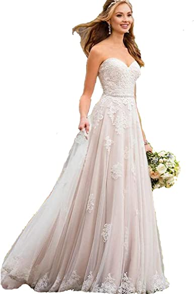 HDSLP Lace Strapless Wedding Dress Long Sweetheart A-Line Bridal Gown with  Beading Belt