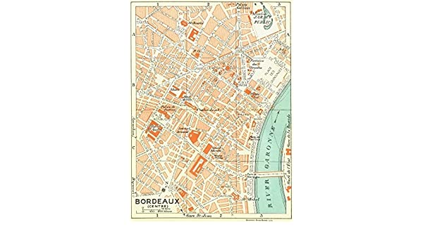 Map Of France Bordeaux.Amazon Com France Bordeaux Centre 1926 Vintage Map Wall Maps