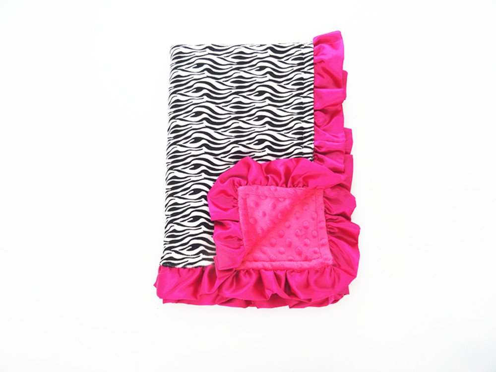 Black White Small Zebra Hot Pink Dots Minky Baby Blanket