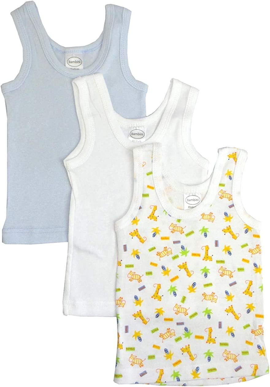 Baby Tank Tops Boys, Girls, Unisex Sleeveless 100% Cotton Shirts & Short-Sleeve Slip-on Tees for 0-24 Months Babys (Newborn, Blue/White/Print/3-Pack/For Boy)