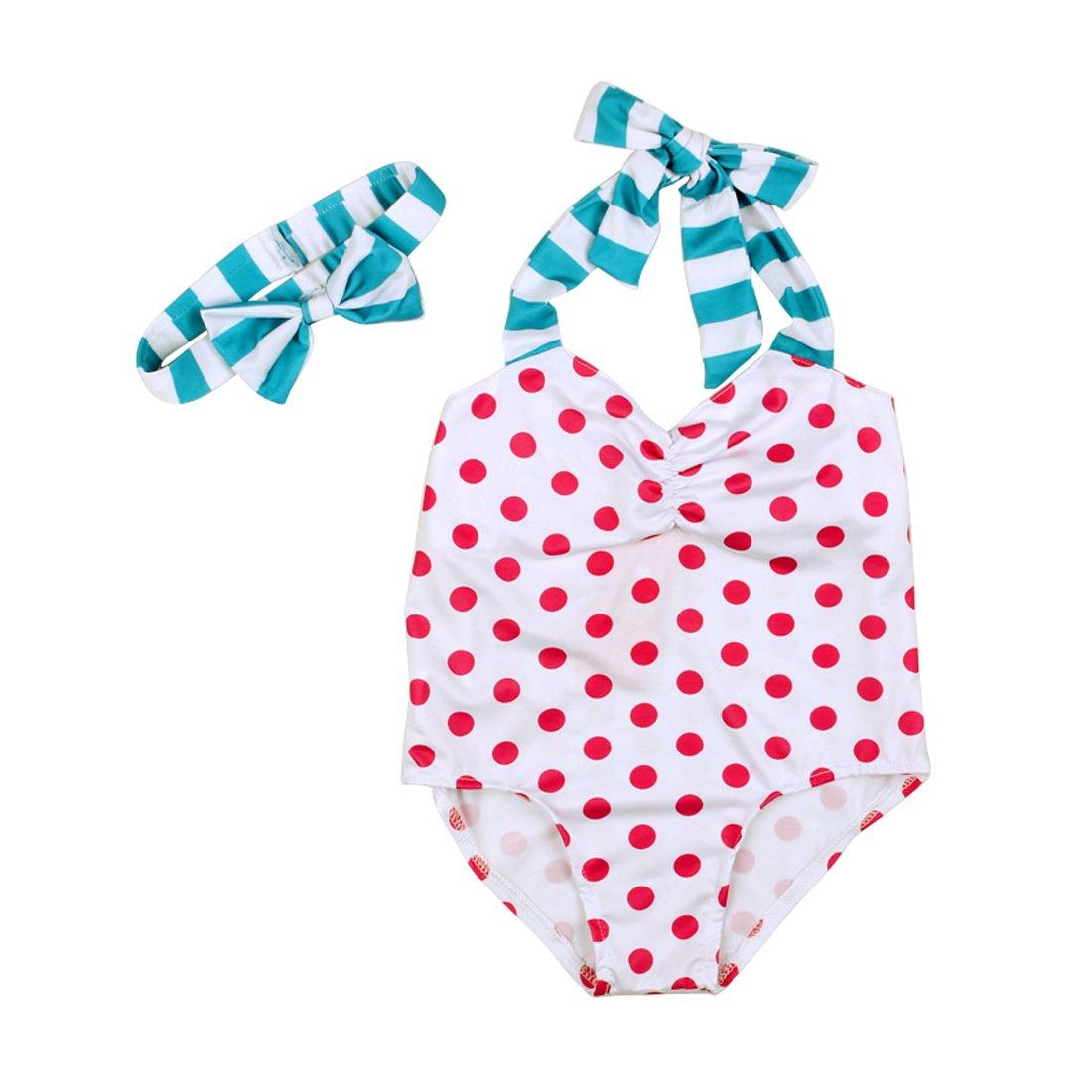 EITC Little Girls Summer Swimwear 2pcs Polka Dots Swimsuit with Cute Headband 6T