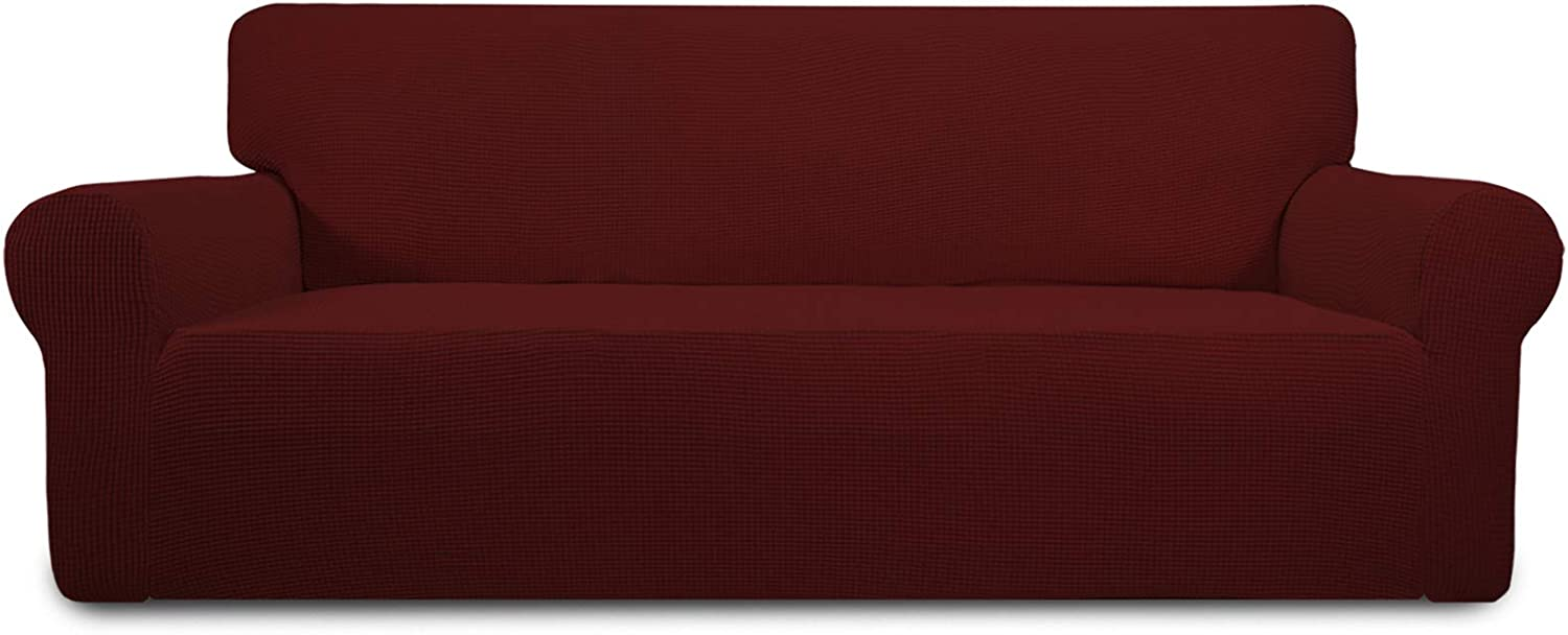 Easy-Going Stretch Oversized Sofa Slipcover 1-Piece Couch Sofa Cover Furniture Protector Soft with Elastic Bottom for Kids, Spandex Jacquard Fabric Small Checks(X Large,Wine)