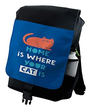 588dc4cf97e9 Amazon.com | Lunarable Quote Backpack, Home is Where Your Cat is ...