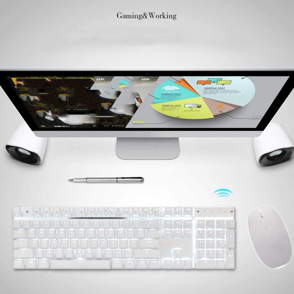 Color : White Green axis Feel Good and React Fast Technical Warrior Wireless Mechanical Keyboard Rechargeable Notebook 2.4G Mouse and Keyboard Set Esports Keyboard Suit JIADUOBAOSEN