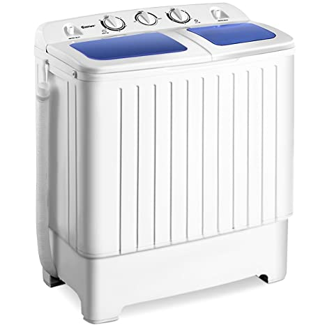 Giantex Portable Mini Compact Twin Tub Washing Machine 17 6lbs Washer Spain  Spinner Portable Washing Machine, Blue+ White