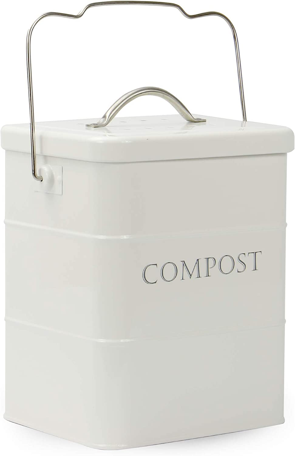 3.5L Kitchen Compost Bin | White Food & Waste Caddy | Metal Recycling Kitchen Storage Bins | Outdoor Recycle Tin | M&W