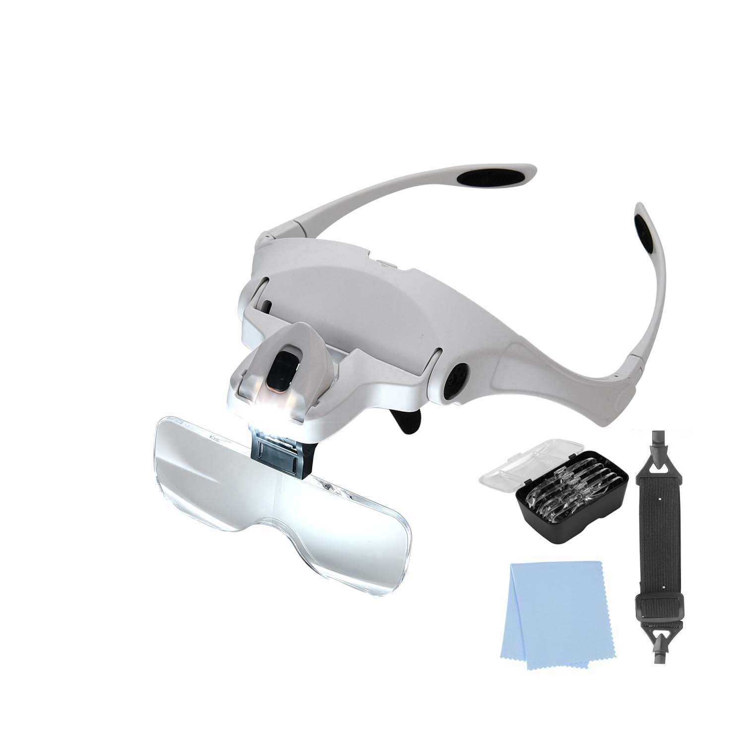 Lighted Headset Magnifying Glasses with lights Head Magnifier Loupe Headband for Close Work/Electronics/Eyelash/Crafts/Jewelry/Circuit Watch Repair,1.0X/1.5X/2.0X/2.5X/3.5X by MORDUEDDE (Image #8)