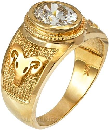 LA BLINGZ 14K Polished Yellow Gold Aries Zodiac Sign Necklace