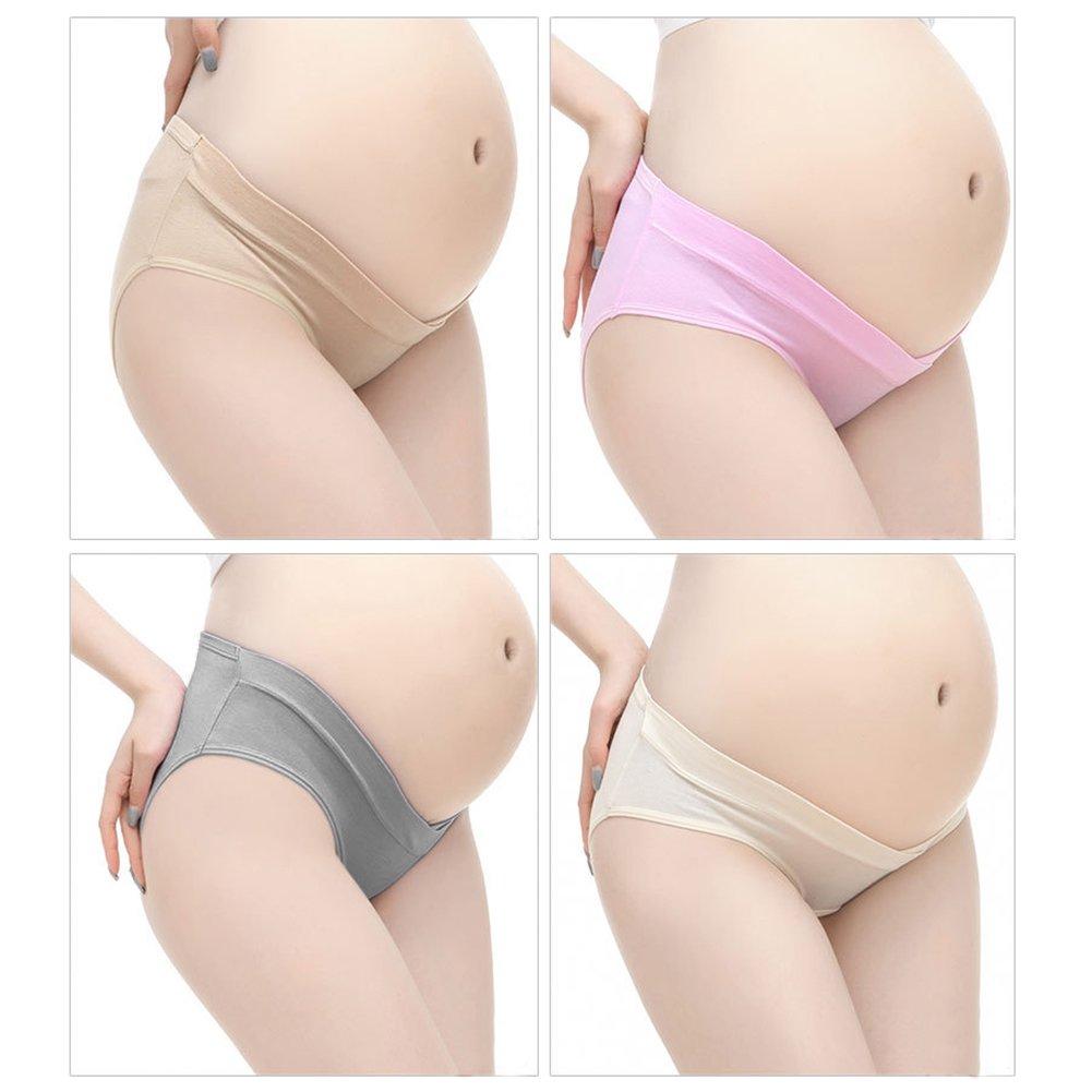 CHIC-CHIC 4pcs Damen Schwangerschafts Slips Umstandsmode Unterw/äsche Unterhose Mutterschaft Niedrige Taille Unterhose