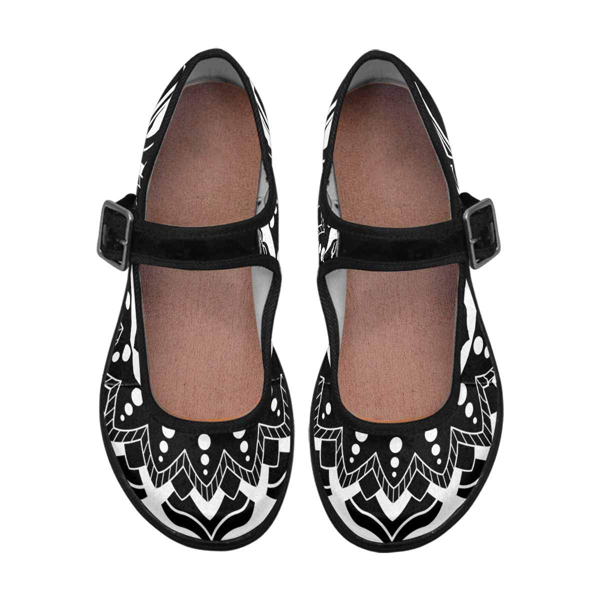 INTERESTPRINT Womens Satin Mary Jane Flats Ballet Shoes Beautiful Circular Lotus Mandala