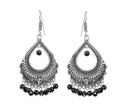 3dddcc60cb19b Waama Jewels Black Silver Brass Dangle & Drop Earring For Women