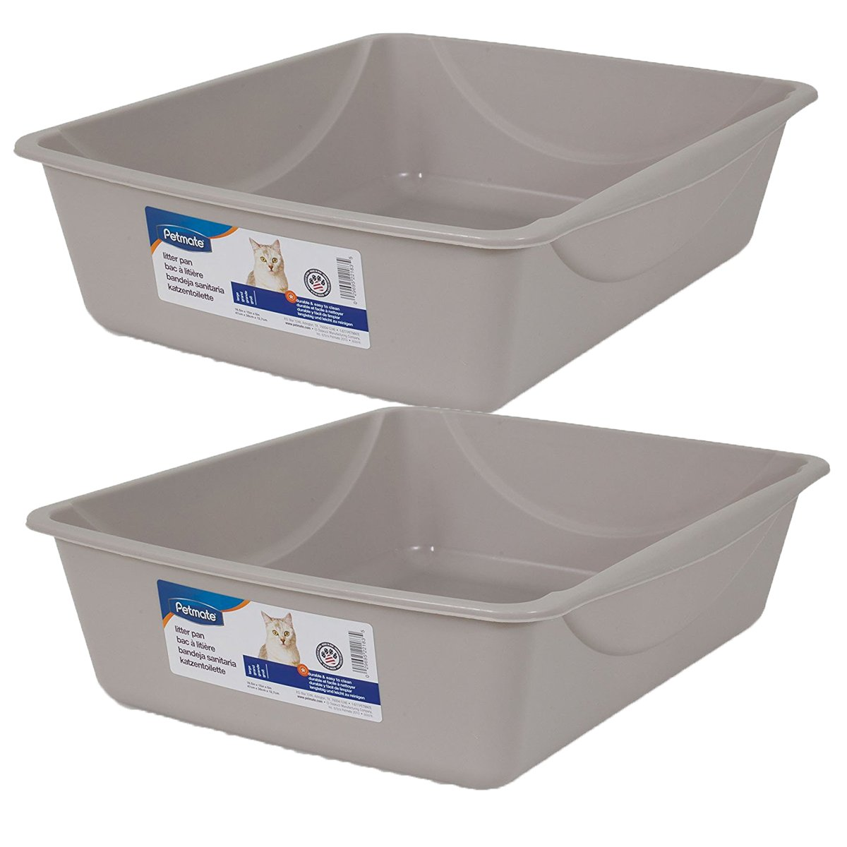 Petmate Litter Pan, Blue Mesa/ Mouse Grey, Large, 2 Pack by Doskocil