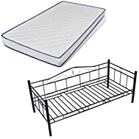 vidaXL 90 x 200 cm Bett Metallbett Bettgestell Schlafzimmerbett Bettrahmen Metall