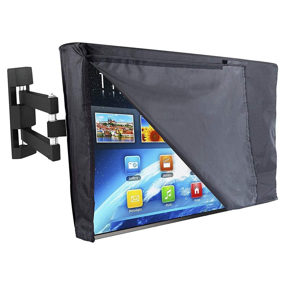 Meijunter Outdoor TV Cover 55''-58'' - Flat Screen TV Universal Protector Case Waterproof Dustproof Front Flap Bottom All Inclusive 600D (Black Transparent)