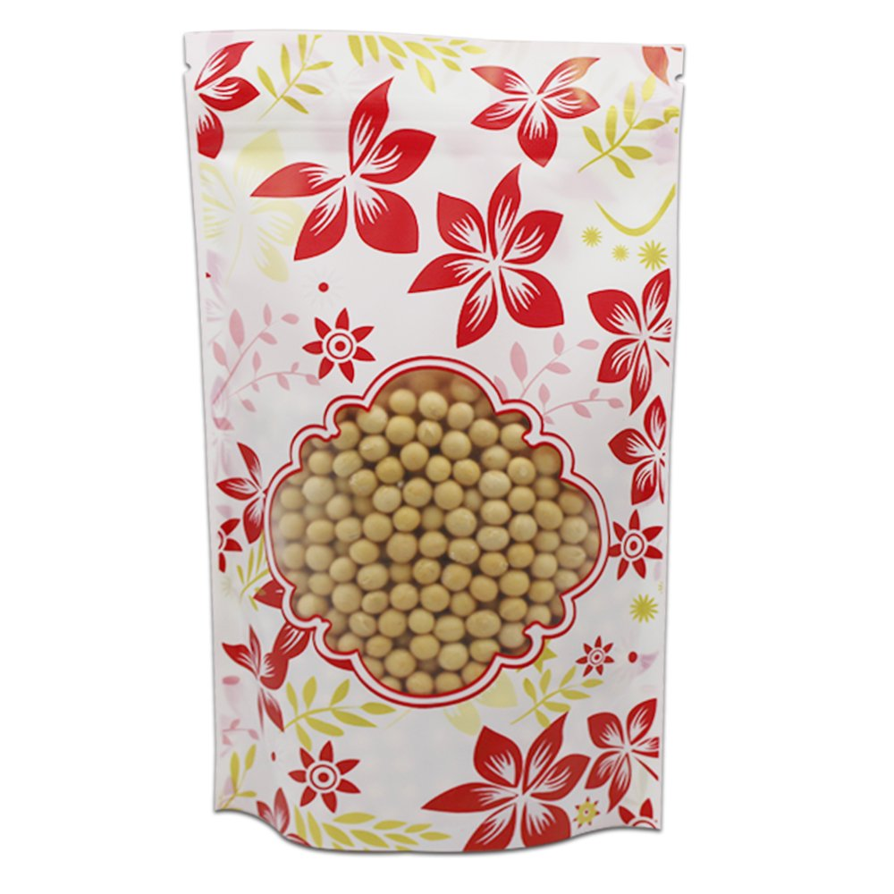 Natural Zip Lock Stand-up Food Storage Pouches Flat Bottom Plastic Packing Material Doypack Stand Up Resealable Front Clear Flower Printed Package Bags Tear Notches (6.3x9.4 inch, 300 pieces)