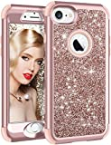 Vofolen Case for iPhone 8 Case iPhone 7 Cover Bling Glitter Shiny Full-body Protection Heavy Duty Hybrid 3 Layer Protective Hard Shell Soft Rubber Armor + Front Bumper for iPhone 8 iPhone 7 -Rose Gold