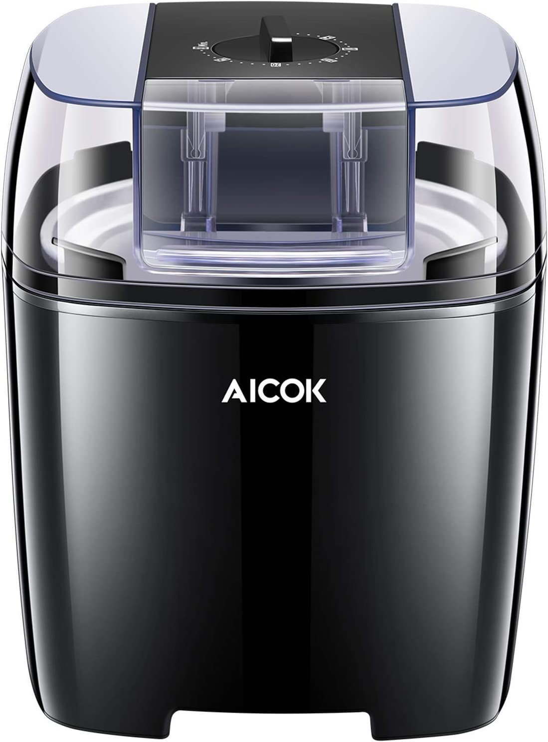 Aicok Ice Cream Maker, Frozen Yogurt and Sorbet Machine BPA Free with Timer Function, Easy Homemade Ice Cream with Instruction Book, 1.6 Quart, Black