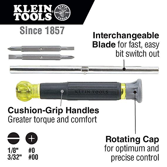 Klein Tools Multi Tool Kit: Screwdriver and Nut Driver 11-IN-1 & Precision Electronics Screwdriver with Industrial Strength Bits 4-IN-1 - Bundle