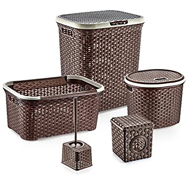 Bathroom Set - Hamper, Basket, Tissue Box and More! - Brown