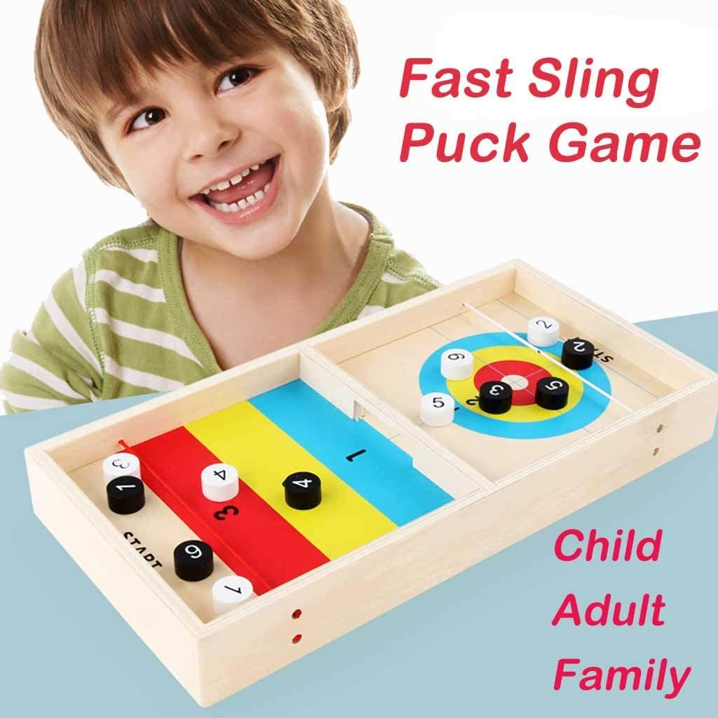 Wood Cithy Fast Sling Puck Game Paced Sling Puck Winner Board Games Toys for Child Adults Family