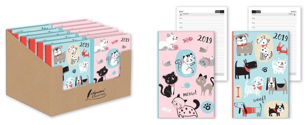 2019 - Agenda con tapa dura para gatos de dibujos animados ...