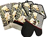 Essential Home 7-Piece Kitchen Set - 2 Towels, 2 Potholders, 2 Dishcloths, One Oven Mitt - Chef with Wine - Grey, Black and Red Bundle (Gray Chef)