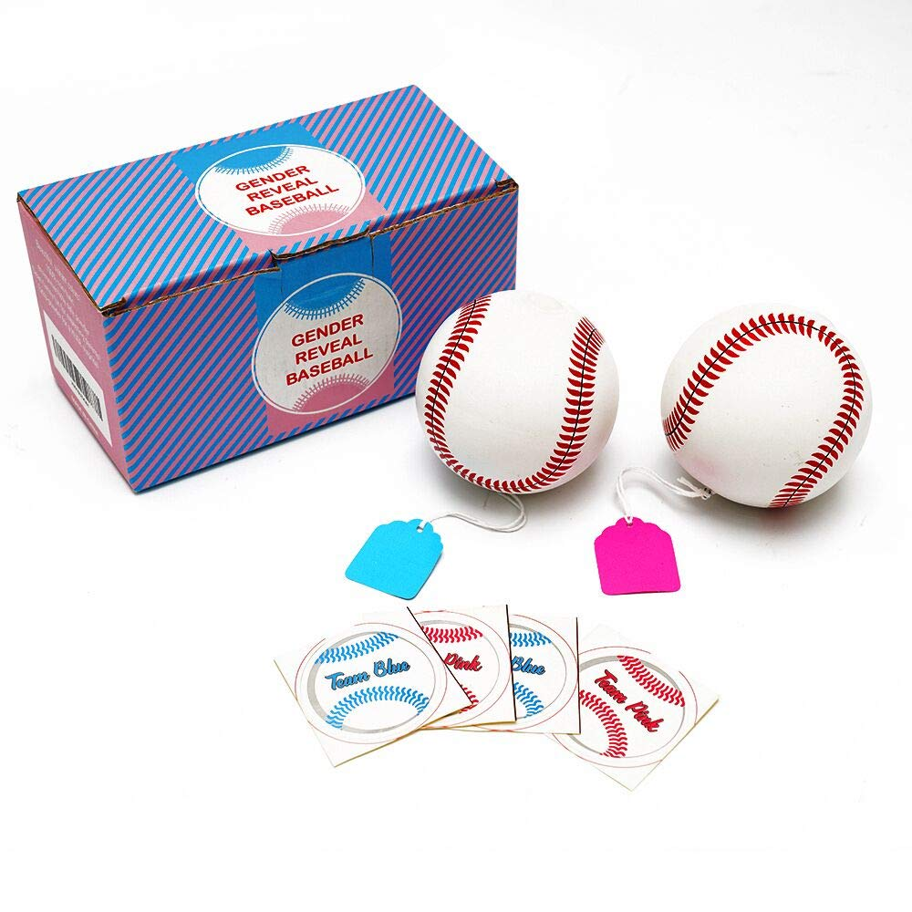 2 Pack Team Pink /& Team Blue Exploding Gender Reveal Baseball With Extra Powder Baby Shower Party Supplies