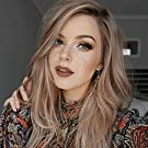 netgo Ash Blonde Ombre Wig Long Wavy Ombre Wigs Dark Roots Side Part Natural Looking Synthetic Hair Full Wigs for Women None Lace Wig