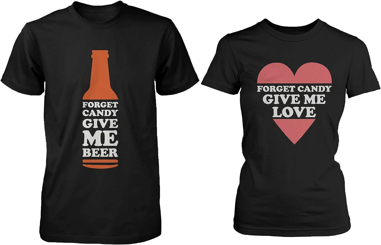 365 In Love Funny Halloween Pareja Camisas Forget Candy Give Me Cerveza y Amor - Negro - izquierda - 3XL/derecho - XXL: Amazon.es: Ropa y accesorios