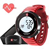 Dream Sport Heart Rate Monitor Chest Strap and Watch, 5.3KHZ Wireless/Work with Treadmill/Perfect for Workout/Pedometer/Stopwatch/Alarm/Calorie Counter/BMI/30M Water Resistant 088 Red