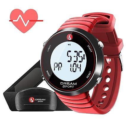 Dreamsport Pulsómetro, reloj de monitor de ritmo cardíaco con correa de pecho y cronómetro/